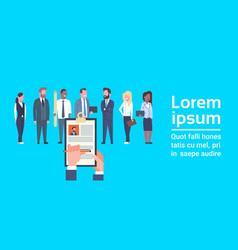 hr hand hold cv resume of businessman over group vector image
