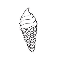 ice cream in waffle cone vector image