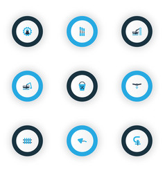 Industrial icons colored set with chisel working vector