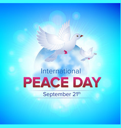 international peace day september 21 - with two vector image