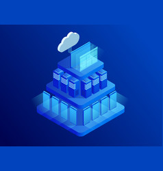 isometric cloud technologies networking concept vector image