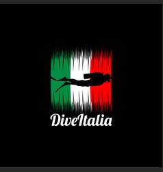 Italia diving logo design vector
