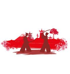 Japanese samurai fighters silhouette on asian vector