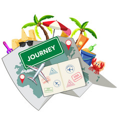 journey time with beach object vector image