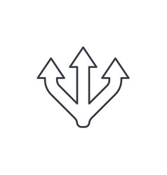 Junction separation three way thin line icon vector