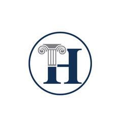 Letter h and law pillar logo design column logo vector