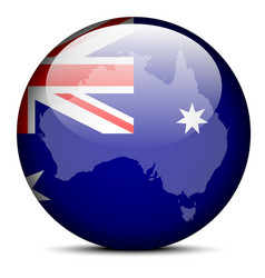 Map on flag button commonwealth australia vector
