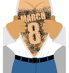 March 8 male hairy torso takes off his shirt vector