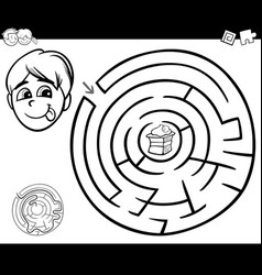 Maze with boy and cake for coloring vector