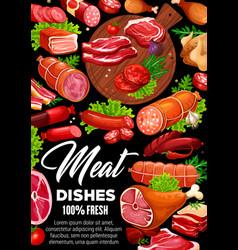 Meat sausages beef and pork steaks chicken ham vector