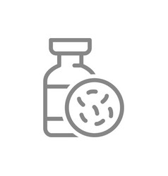 Medical ampoule and bacteria line icon vaccine vector