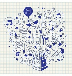 Music box doodle vector