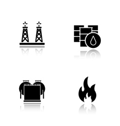 Oil industry drop shadow black icons set vector image