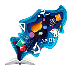 Open book with school supplies paper cut vector