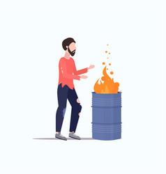 Poor man warming fire beggar guy standing near vector