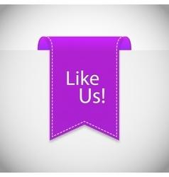 Purple Like us label vector
