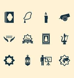 Religion icons set collection koran world vector