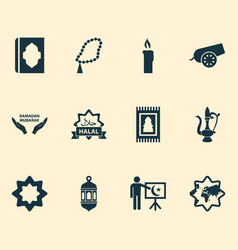 Religion icons set collection of koran world vector