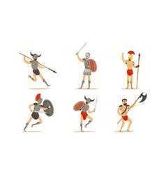 roman ancient warrior character in armor in vector image