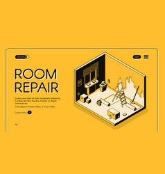 Room repair service isometric website vector