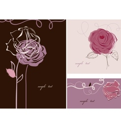 Roses cards collection vector