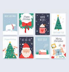 scandinavian christmas cards cozy winter holiday vector image