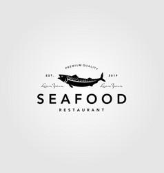 Seafood fish logo vintage label emblem restaurant vector