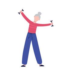 Senior woman lifting dumbbells - old cartoon vector