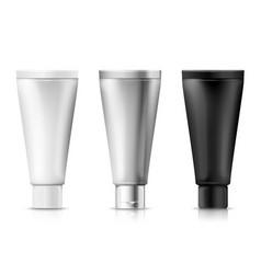 Set cream tubes plastic aluminum black vector