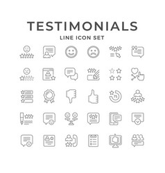 Set line icons testimonials vector