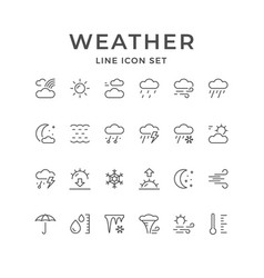 Set line icons weather vector