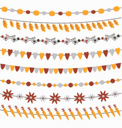 set of cute autumn garlands with flags vector image