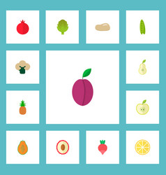 set of fruit icons flat style symbols with vector image