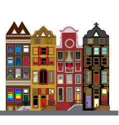 Set of houses in the dutch style different color vector