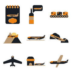 Set of icons in flat design for airport on a vector
