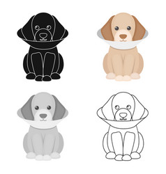 Sick dog icon in cartoon style for web vector