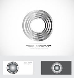 Silver rings circle abstract logo vector