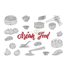 Sketch Asian Food Collection vector image