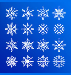 snowflake set abstract collection white vector image