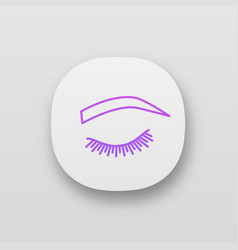 Soft arched eyebrow shape app icon vector