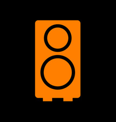 speaker sign orange icon on black vector image