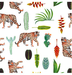 tiger leaves flowers cactus seamless white vector image