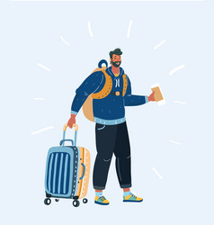 tourist hipster man vector image