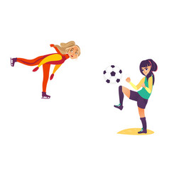 Two teenage girls - ice skating playing football vector