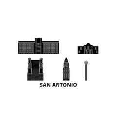United states san antonio flat travel skyline set vector
