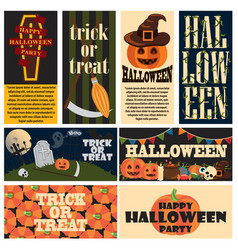 Vintage halloween party promo posters collage vector