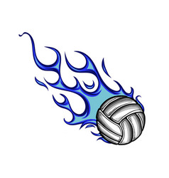 volleyball ball with flames and blue fire vector image