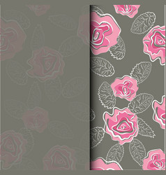 wedding invitation card with pink roses flower in vector image