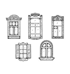 windows wooden sketch engraving vector image
