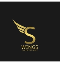Wings S letter logo vector